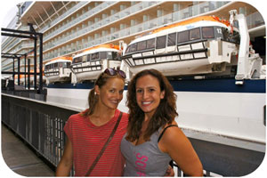 Carli gets ready to board her first ever cruise ship
