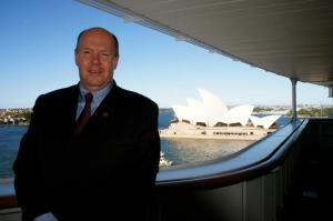 Cunard president and managing director Peter Shanks aboard QM2 in Sydney. Image: Natalie Aroyan