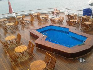 Pool deck awaits passengers in Portland.Image: Cruise & Maritime Voyages
