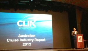 CLIA Australasia chairman Gavin Smith presents the 2012 Australian Cruise Industry Report. Photo Credit: Natalie Aroyan