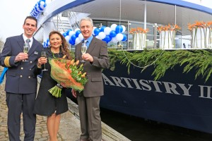 At the launch of Avalon Artistry II (from left): Captain Milos Laskovich; Baron Travel CEO and President Marilen Sandejas-Yaptangco; and Avalon Waterways Managing Director Patrick Clark. Photo Credit: Avalon Waterways