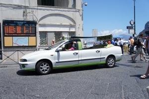 Wonder if one of these funky coloured convertibles will be used when touring Capri? Photo: Natalie Aroyan