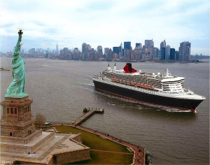 Cunard's grand ocean liner QM2 will depart New York for Southampton for the 200th time in July. Photo credit: Cunard