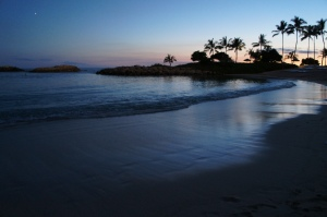 Aulani's private beach at sunset. Photo Credit: Natalie Aroyan