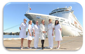 Captain Breton with the Pacific Pearl female officers and Carnival Australia CEO Ann Sherry