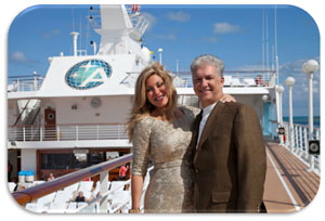 Edie and fiancée Tom Rodriguez celebrate their engagement aboard Azamara Quest