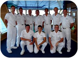 Captain Leotta (centre) with his team of bridge officers.