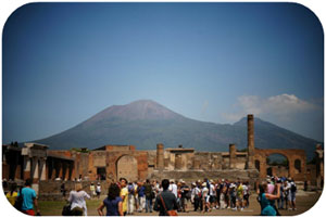 Vesuvius overlooks the now bustling tourist attraction