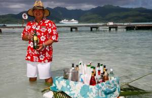 Floating bar in an island paradise. Photo Credit: Paul Gauguin Cruises
