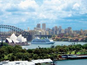 Seven Seas Voyager in Sydney Harbour. Photo Credit: Regent Seven Seas Cruises