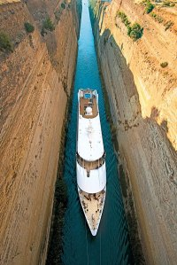 The Moana sails through the Corinth Canal. Photo Credit: Paul Gauguin Cruises