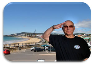 "Gavin salutes Burnie, Tasmania. Image courtesy of ""The Advocate"""