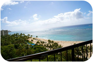 The view from room 1212 in the Ali'i Tower at HIlton Hawaiian Village